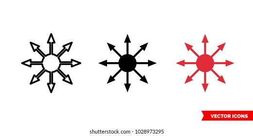 Chaos symbol icon of 3 types: color, black and white, outline. Isolated vector sign symbol.