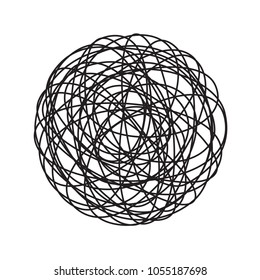 Chaos tangle circle doodle line chaotic tangled thread ball vector isolated icon