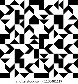 Chaotic abstract ornament. Decorative ornament of geometric shapes. Abstract black and white geometric pattern