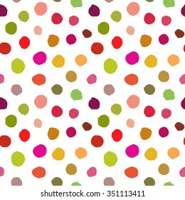 Chaotic Colorful Polka Dots. Vector painted background. Abstract dotted ornament for fabric print, greeting card, table cloth, furniture. Irregular unusual seamless pattern. Textured cute.