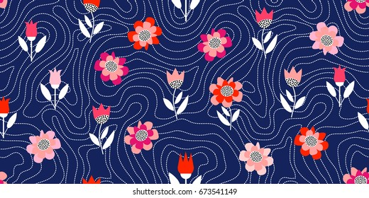 Chaotic dotted lines. Floral print with geometric elements. Seamless vector background inspired by 1960s textile design. Poppies and tulips on dark blue background.