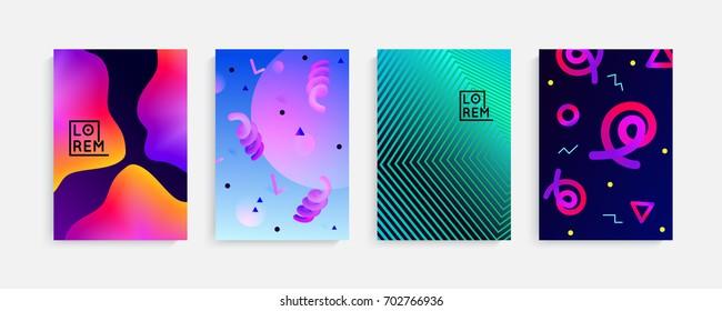 Chaotic geometry background. Minimal futuristic design. Fluid colors, memphis stile, vibrant shapes. Suitable for posters,covers,prints. stock vector.