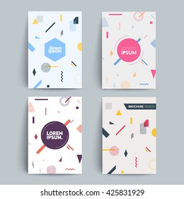 Chaotic geometry backgrounds set. Applicable for covers, placards, posters, flyers and banner designs. A4 fromat,eps10 vector templates.