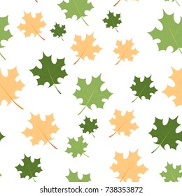 Chaotic maple leaves pattern. Vector seamless background. EPS10. Can be used as print on clothes, wrapping paper, web, design banners. Creative autumn backdrop.