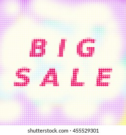 """Chaotic polygonal tile with distinctive red sign """"big sale"""". Use as a banner for a season or special sales events."""