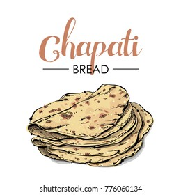 Chapati bread drawing. Sketch style. Vector.