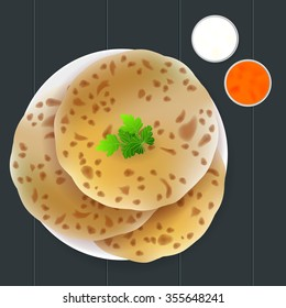 Chapati Indian street fast food. On a dark background in a plate. With sauce and curry. Vector illustration.