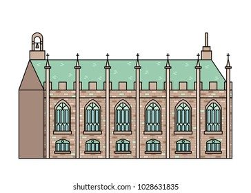 The Chapel Royal in Dublin Castle vector illustration in flat color line style. Official Church of Ireland exterior view in thin linear design. Top rated attraction of Irish capital city.