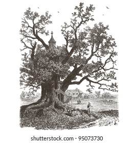 "The chapel in the trees - vintage engraved illustration - ""La mosaique "" edited by A.Bourdilliat  1875 - Paris"