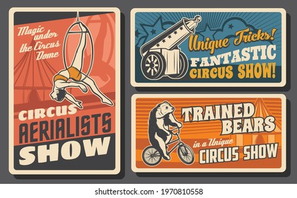 Chapiteau, big top circus retro posters. Aerial ring acrobat and human cannonball performers, bear riding bicycle vector. Circus aerialists dangerous show, tamer and trained wild animals tricks banner