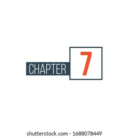 Chapter 7 design template, can be used for books design or tabs. Stock Vector illustration isolated on white background.