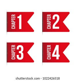 Chapter bookmark icon set