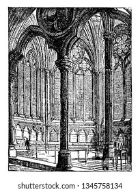 Chapter House of Westminster Abbey was originally used in the 13th century by Benedictine monks for their daily meetings, vintage line drawing or engraving illustration.