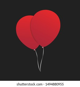 It chapter two poster Red balloons vector symbols isolated on transparent background