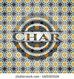 Char arabesque style emblem. arabic decoration.