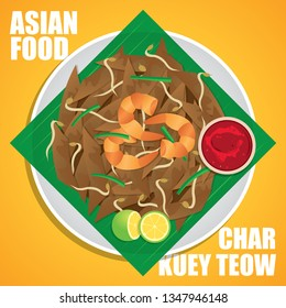 "Char kway teow, literally ""stir-fried rice cake strips"", a popular noodle dish from Southeast Asia, notably in Malaysia, Singapore, Brunei and Indonesia vector illustration."