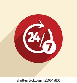 character 24 7 sign. 24/7