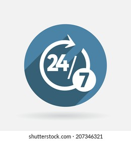 character 24 7 sign. Circle blue icon with shadow. 24/7