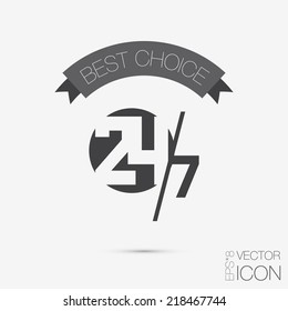 character 24 7 sign. symbol icon clock service