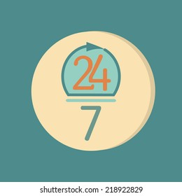 character 24 7 sign. symbol icon clock service 24/7