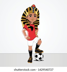 character of African Nations Cup 2019 soccer player Cartoon TUT with head Tutankhamun