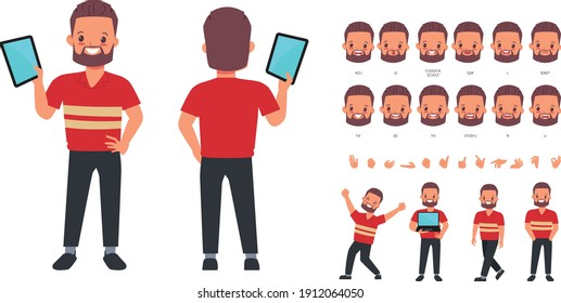 Character for animation mouth and face cute businessman.