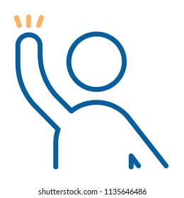 Character with arm raised ready to help, answer, question something or hand wave. Vector thin line icon illustration. Volunteer, student raising his arm, voting, protesting, waving hello or goodbye.