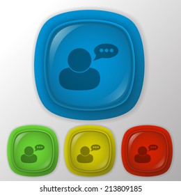 character avatar dialogue sign. man speak icon