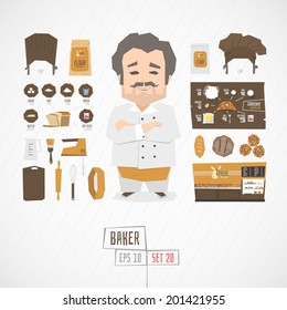 Character baker vector illustration
