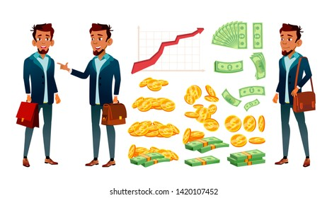 Character Banker And Grow Currency Graphic Vector. Young Businessman Banker In Suit With Case, Red Arrow, Golden Coin And Dollar Banknote Money. Financial Worker Flat Cartoon Illustration