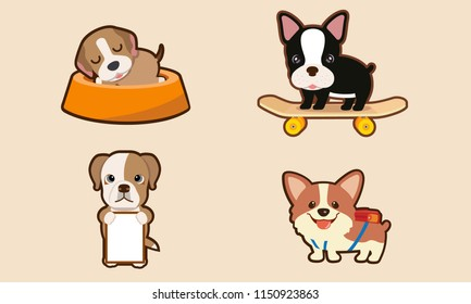 The character Beagle puppy sleep in the feeding bowl Boston Terrier on skateboards, and dog banner with backpack