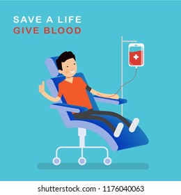 character blood donor man sitting in a medical hospital chair and donating blood. Blood donation concept design vector design illustrations.