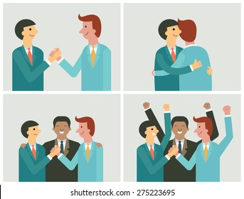 Character of businessman in cooperation concept. Shaking hands, teamwork, partnership, making a deal. Flat and simple design.