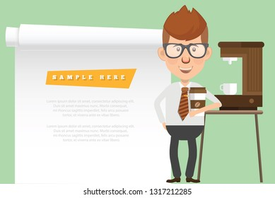 Character and businessman vector concept design