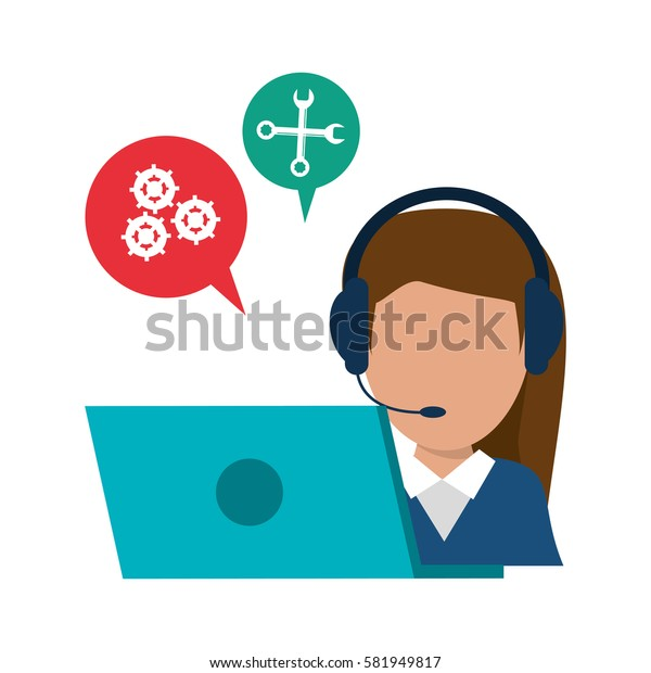 character call center laptop talking bubble