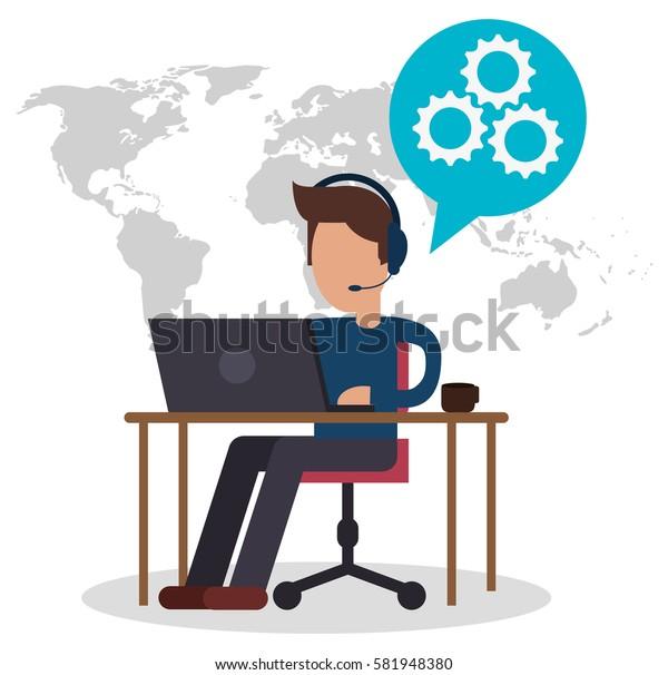 character call center sitting desk equipment