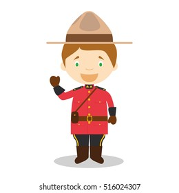 Character from Canada dressed in the traditional way as a Mounted Policeman. Vector Illustration. Kids of the World Collection.