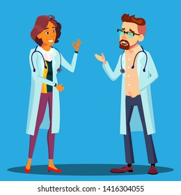 Character Cardiologist Doctor Man And Woman Vector. Male And Female Cardiologist Employees In Hospital Uniform Laughing Smiling Discussing Speaking. Medical Worker Flat Cartoon Illustration