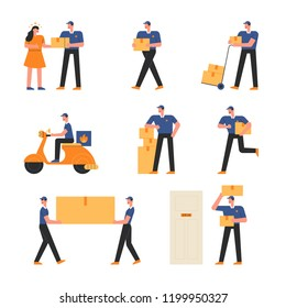 A character to carry and deliver. flat design style vector graphic illustration. various people set.
