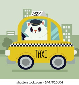The character cartoon of cute cat driving a taxi car.