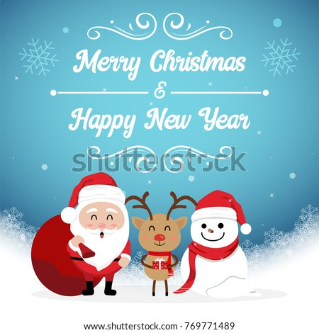 Character Cartoon Cute Christmas Day Merry Stock Vector (Royalty ...