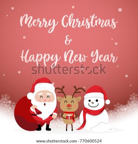 Character Cartoon Cute Christmas Day Merry Stock Vector (Royalty ...