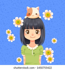 Character cartoon of cute girl with cat on her head and white flower, I love my pet - Vector