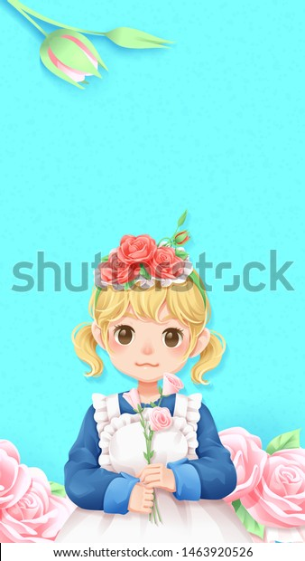 Character Cartoon Cute Girl Pink Rose Stock Vector Royalty