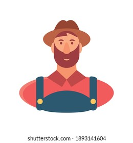 character cartoon farmer man in overalls and hat vector illustration vector illustration