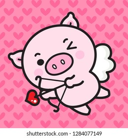Character Cartoon Little Pig Cupid shooting a love, bow and arrow flying on white wings, Valentine's Day illustration.