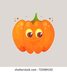Character cartoon pumpkin. Emotional icon. Interested, suspects, thinks. Sticker for the messenger and other communication links. Halloween. Vector illustration in a cartoon style.