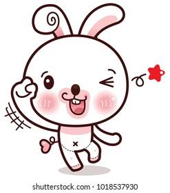 Character Cartoon Rabbit Emotion Hooray, Yippee