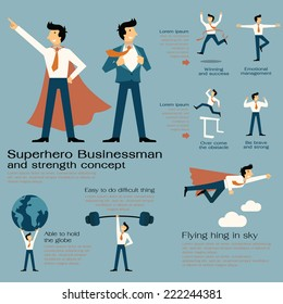 Character cartoon set of superhero businessman with in strength concept, be strong, winning, powerful man, flying high, concentration, and get over the obstacle. Flat design.