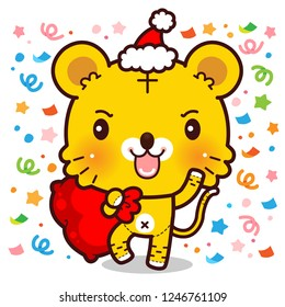 Character Cartoon Tiger with huge red bag, Red Santa hat. For Christmas and New Year, Vector.